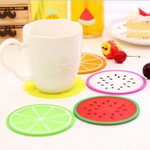 1 Piece silicone Fruit Round dining table placemat coaster kitchen accessories mat cup bar mug animal drink pads random color