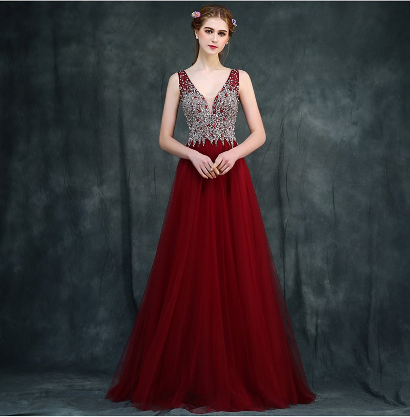 Floor-length Tulle evening dresses With Crystals Backless Formal Prom Party Gown Sexy Long Evening Dress Gown 2016(China (Mainland))