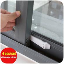 4pcs/set Protecting Baby Safety Security Lock Adhesive Sliding Door Lock Child Window Children Safety Window Locks Baby Product(China (Mainland))