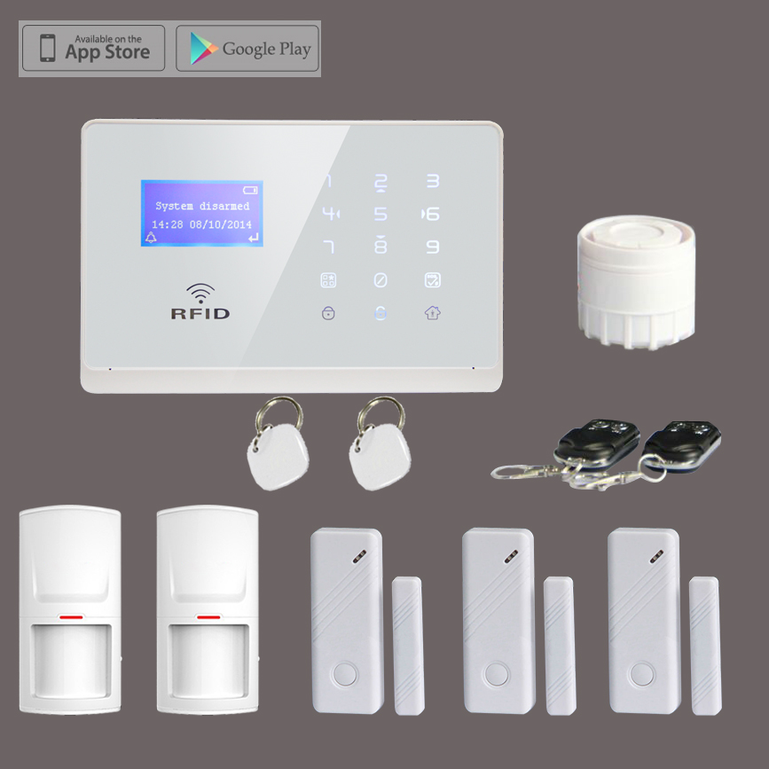 M2FX Home Security GSM Alarm System with RFID Tags, Touch Keypad LCD Display Voice Promt,IOS Android APP Control Alarm Kit<br>