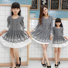 Family Puff Sleeve A-line Dress Fashion Clothes Family Dress for Mother and Daughter Girls/Women Dress Spring and Autumn DR33