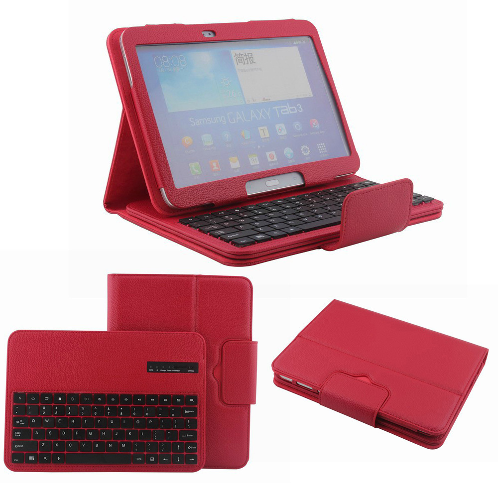 item Removable Bluetooth Keyboard for Samsung Galaxy Tab  P with Leather Case