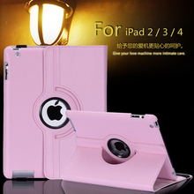 Free shipping Pu Leather 360 Rotating Case Smart Stand For New APPLE iPad 2 3 4 Tablet Case + pen + Film(China (Mainland))