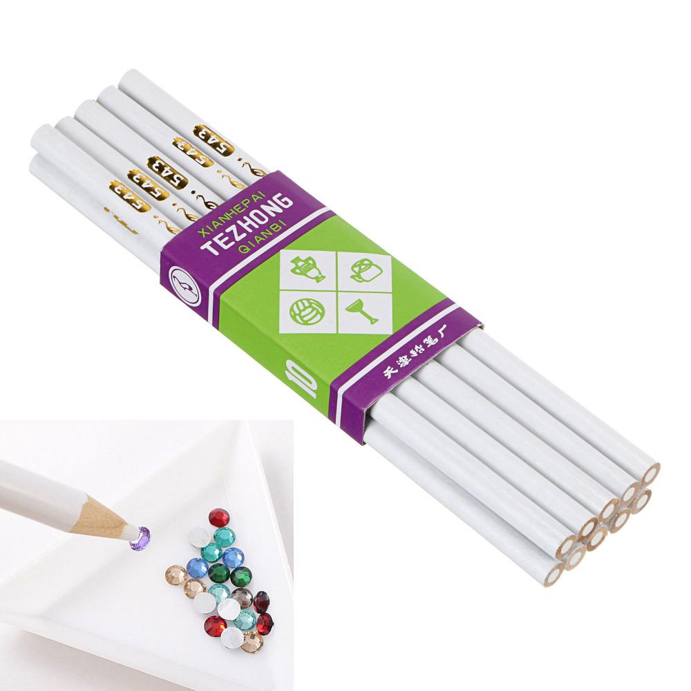10PCS White Wooden Point Pen Wax Picker Pencil for Nail Art Rhinestones Bead