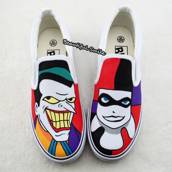 Cartoon Hand Drawn Joker Harley Quinn Slip On Casual Shoes Low-Cut Flats Shoes Unisex Graffiti ...