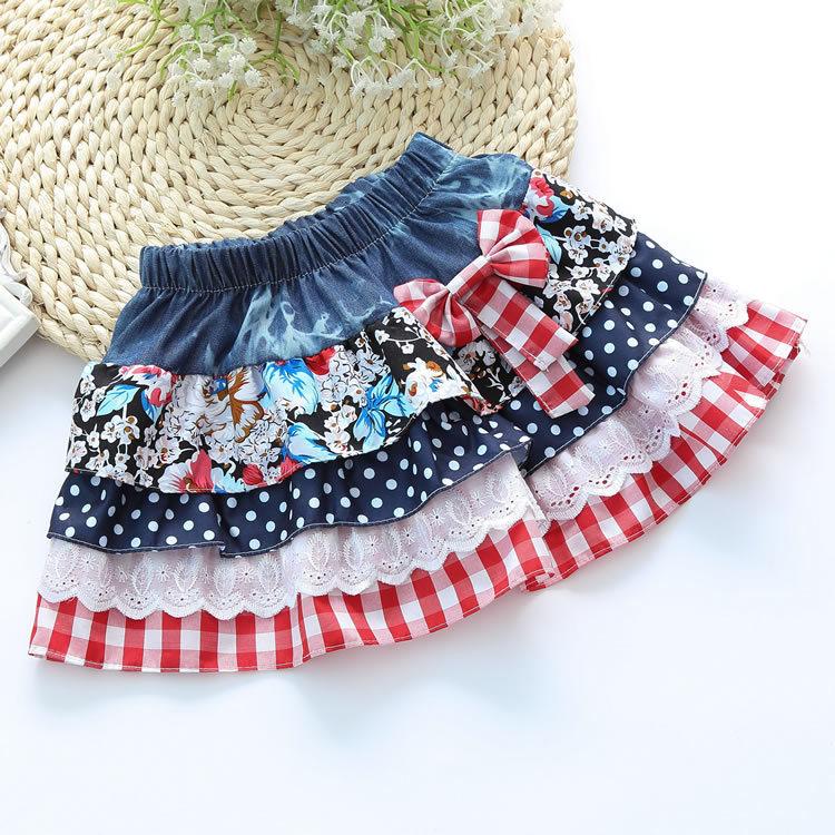 2015 New Girls Summer Denim Bow Skirts Girls Printed tutu Jeans Skirt Baby Girls Party Skirts Kids Brand ,LC081(China (Mainland))