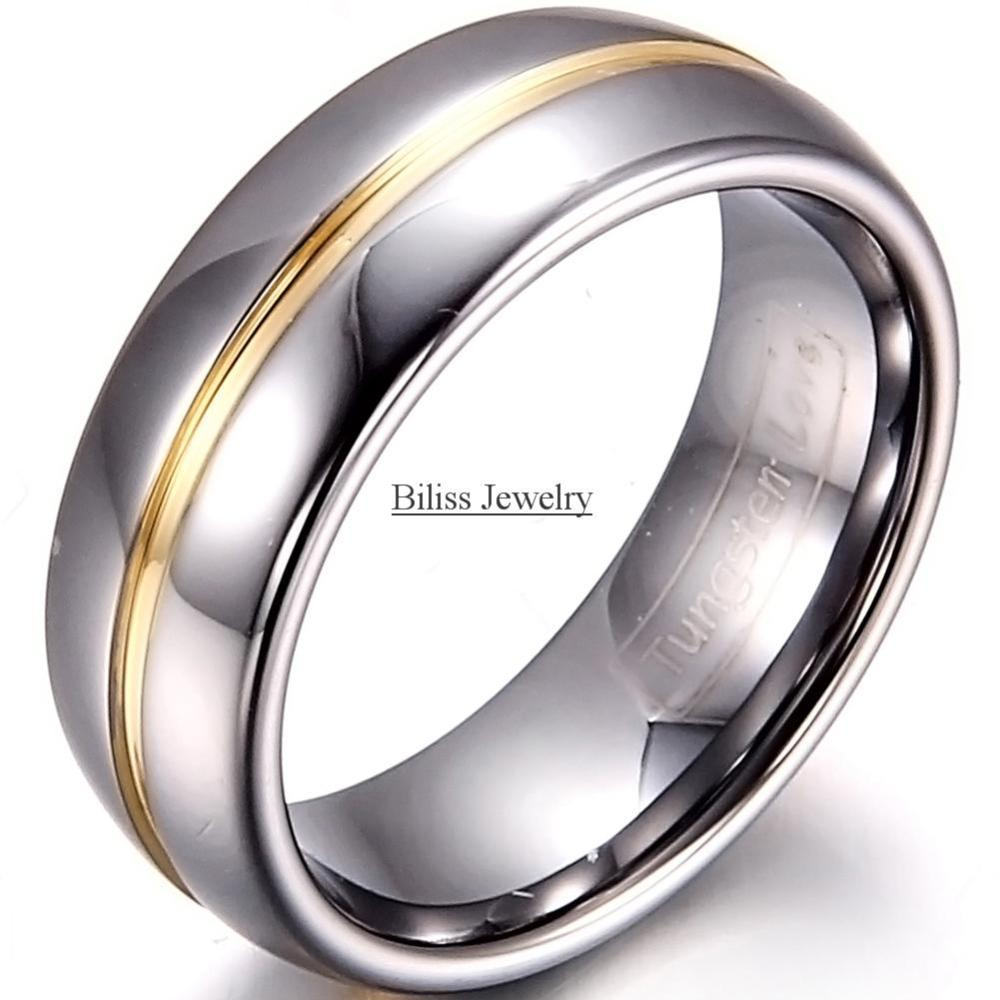 8mm Width Mens Gold Inset Tungsten Carbide Ring Aniversary Engagement Tungsten Wedding Rings