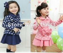 Retail Free Shipping GIRL TODDLER DRESS COAT TOP+SKIRT 2-7Y 2PCS KIDS CLOTHES SET OUTFIT NWT COSTUME Spring Autumn 2 Color(China (Mainland))