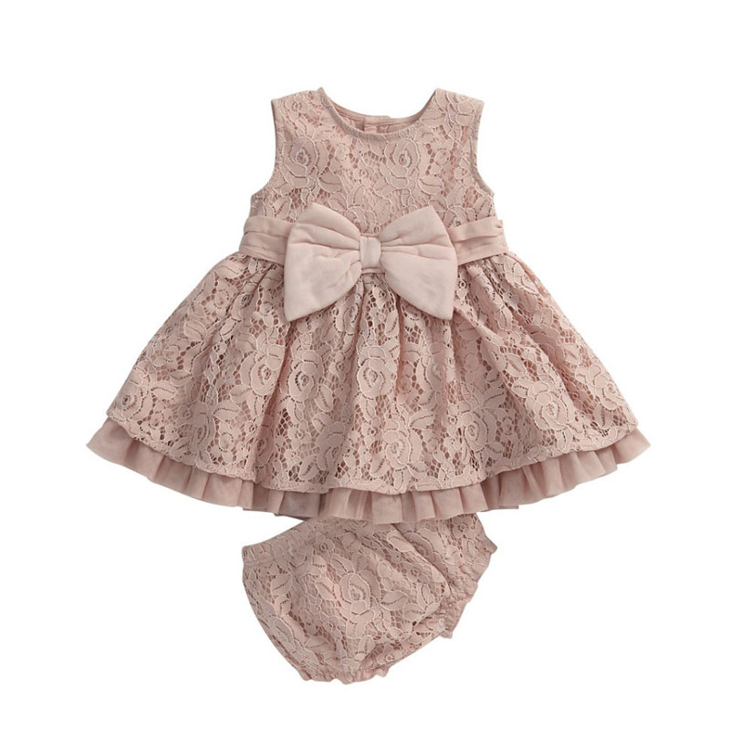 2016 Summer Girls Bow With Lace Suit Dress+Underwear Girls Clothes Kids Sets 0-3Y Kid Dresses For Girls vetement enfant fille(China (Mainland))