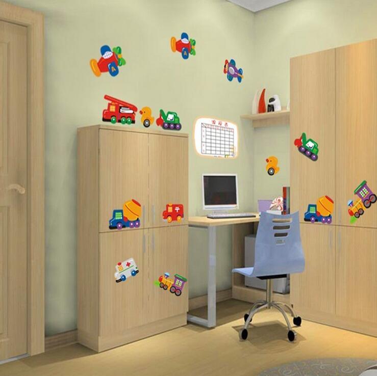 Koop auto vliegtuig kinderen muurstickers kids kamers slaapkamer cartoon poster - Decoratie slaapkamer autos ...
