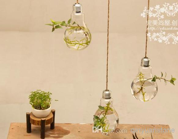 Wholesale Fashion Home Decor 2pcs Glass Vase Home Decoration Two Hanging Bulb Vase Decorative