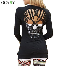 Warm Long Sleeve Spring Cardigan Fashion Women Human Skull Hollow Out Sweater Casual Loose Knitwear Plus Size Punk Jerseys Mujer