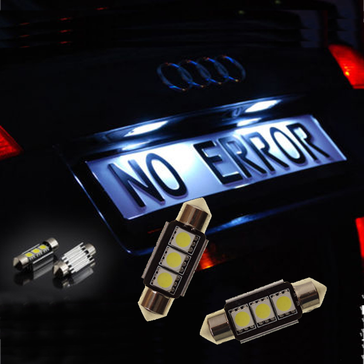 2015 new fashion free shipping, 2x3SMD LED Audi A6 S6 RS6 C5 4B C6 4F Avant Limo Kennzeichenbeleuchtung C5W 36mm(China (Mainland))