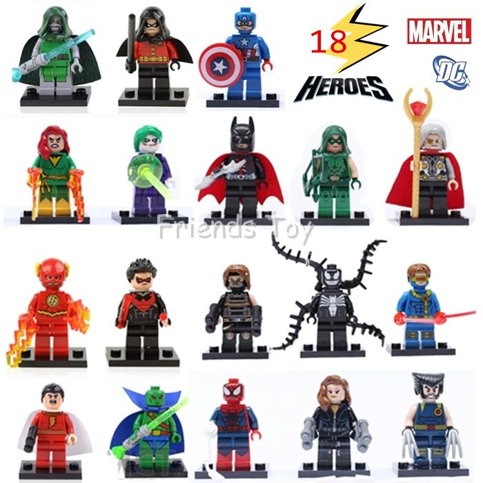 18 Characters Marvel DC Super Heroes Batman The Avengers Figure Building Blocks Brick Minifigure Toys Gift Compatible With Lego(China (Mainland))