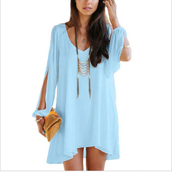 2015 Spring Summer Women Slit Open Sleeve Blouse & Shirts ...