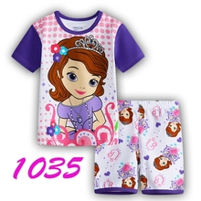 girls cartoon sofia short sleeve pajamas kids summer lovely t-shirt+short set children's casual sleepwear stock - fashion&baby's store