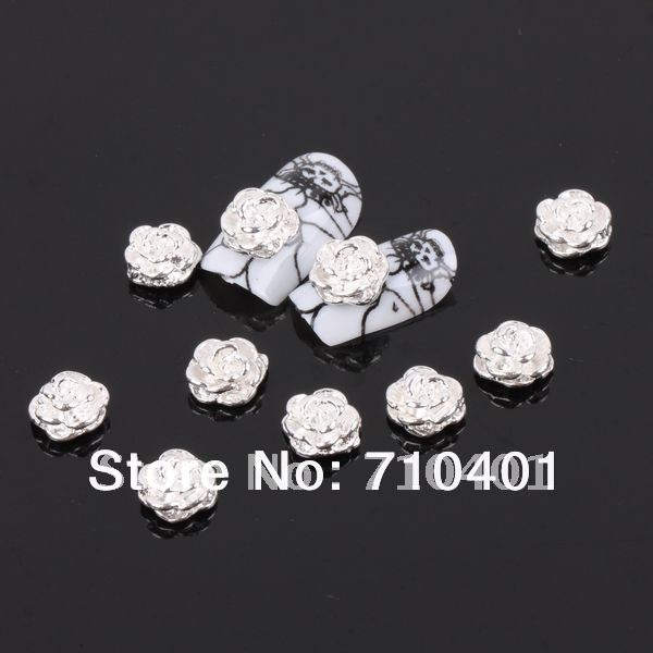 Xmas Free Shipping Wholesale/ Nails Supply, 50pcs 3D Alloy Silver Rose DIY Acrylic Nail Tool/ Nail art, Unique Gift Novelty Item(China (Mainland))