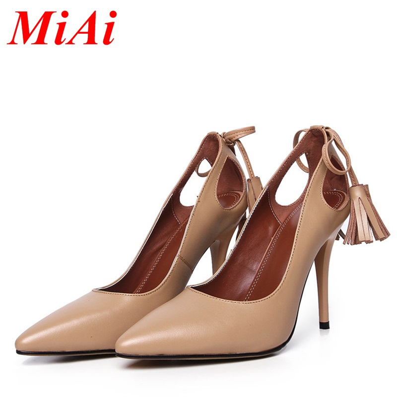 2016 new genuien leather shoes woman pumps sexy high thin heels pointed toe tassel fashion pumps for woman wedding party shoes <br><br>Aliexpress