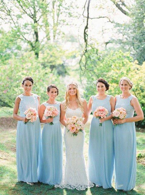 Robes demoiselles d'honneur bleu longue