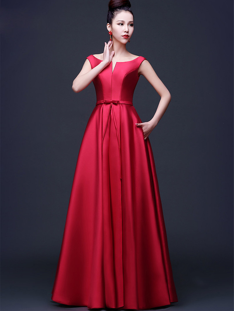 Newest arrival elegant red evening dresses 2016 a line for Evening dresses for weddings