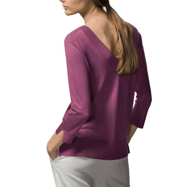 Женские V шеи трикотажные пуловер повседневная основные краткая длинным рукавом sheer ...