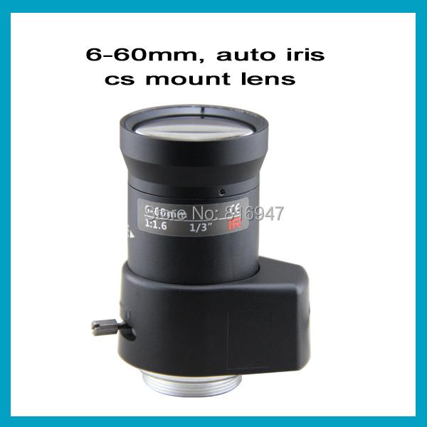 "Free shipping cctv lens 6-60mm F1.4 1/3"" DC Driven Auto Iris Vari-Focal, CS mount lens for security cameras. VGA lens(China (Mainland))"