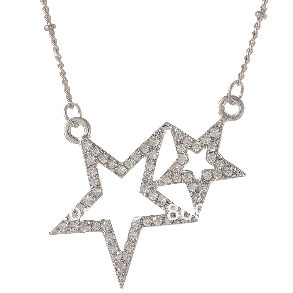 2016 Fine Jewelry Popular Alloy Rhinestone Cystal Double Star Pendant Necklaces Women Dress Accessories - Conli Store store