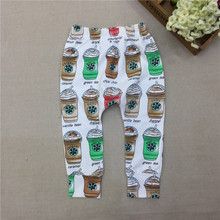 #27# 2016 Suittop Brand Baby Girls Autumn Spring Leggings Infant Harem Pants Girl Coffee Cup Print Trousers / Pantalones Retail(China (Mainland))