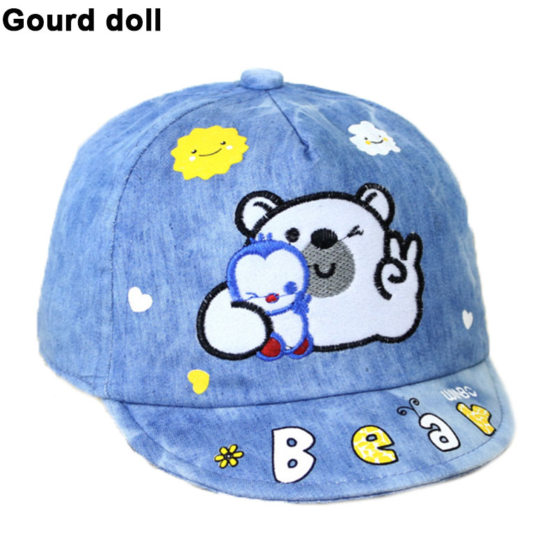4 colors Baby Girls Boys Hat with Stars Cartoon Bear Kids Baseball Hat Summer Spring Baby Boy Sun Hats Cotton Caps Girls Visors(China (Mainland))