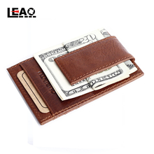 New Fashion 100% Brand Genuine Cow Leather Stainless Steel Money Clips 2015 Fahsion Crazy Horse Leather Mens Retro Wallet Brown(China (Mainland))