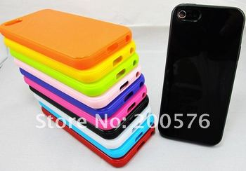For New iPhone 5 5G Mobile Cell Phone case  High Gloss Colorful Solid TPU Soft Gel Skin case iPhone Free Shipping DHL 300pcs