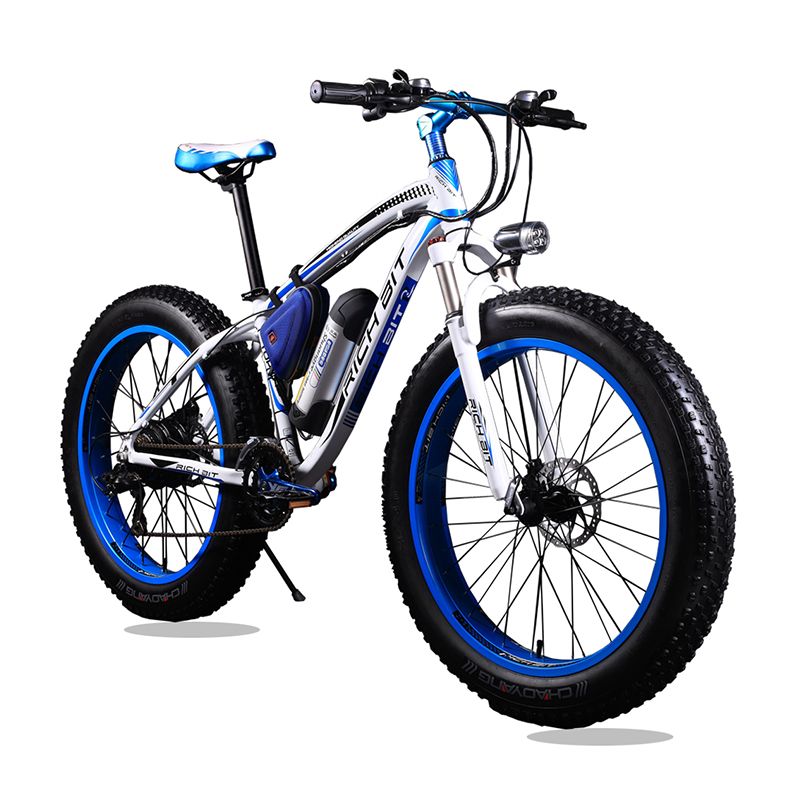 New 36V* 350 Watt Lithium Battery <font><b>Electric</b></font> Snow Bike <font><b>Electric</b></font> <font><b>Bicycle</b></font> SHIMAN0 21 Speed Mountain Bike Road <font><b>Bicycle</b></font> White and Blue