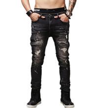 High Quality Mens Ripped Biker Jeans 100% Cotton Black Slim Fit Motorcycle Jeans Men Vintage Distressed Denim Jeans Pants Q1566(China (Mainland))