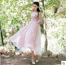 The 2015 summer dress gauze embroidery V collar flounce sleeve large swing long pink dress(China (Mainland))