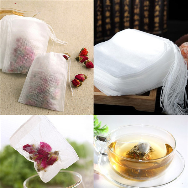 New Teabags 100Pcs/Lot 5.5 x 7CM Empty Tea Bags With String Heal Seal Filter Paper for Herb Loose Tea Free Shipping Wholesale(China (Mainland))
