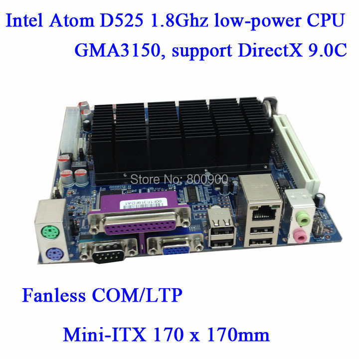ITX-D525 Intel ATOM CPU D525MW fanless motherboard INTEL MINI ITX POS ATM motherboard all in one motherboard PCI slot support(China (Mainland))