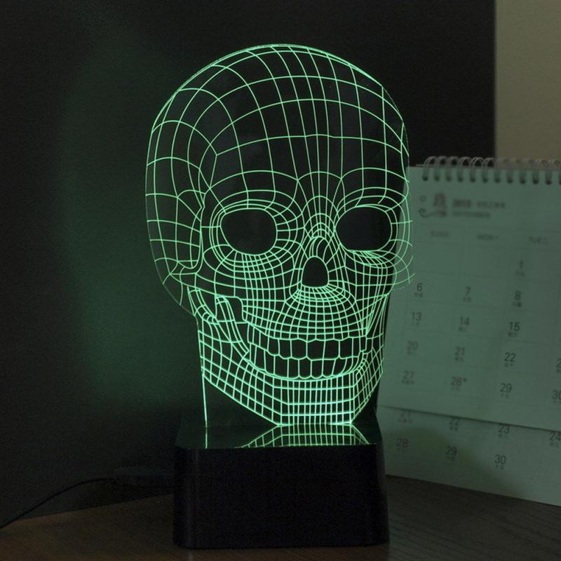 3D RGB Cranial Skeleton Head Dimmer Table Lamp Acrylic LED Night Light Micro USB Desk Lamp Personality Small Night Lamp(China (Mainland))