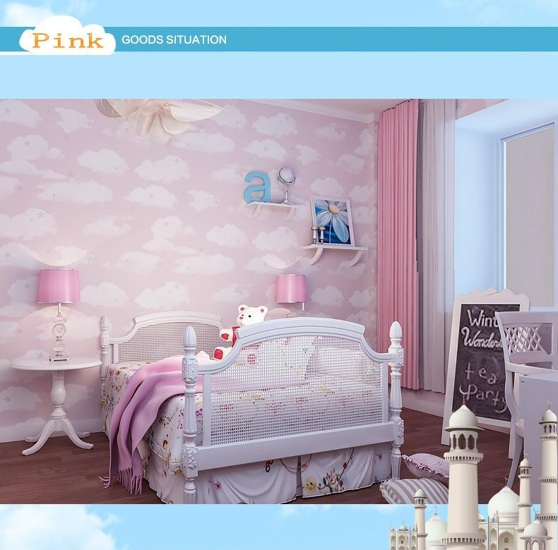 Blue Sky White Clouds Cartoon Children Room Boy Girl Lovely Sweet Bedroom Environmental Protection Non-woven Wallpaper(China (Mainland))