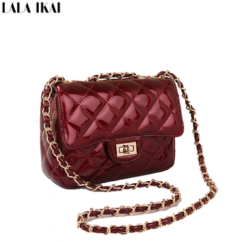 LALA IKAI Original Brand Patent Leather Bags Chains Women's Handbags Messenger Bags Designer Quilted Wine Purse Wallet BWB0338