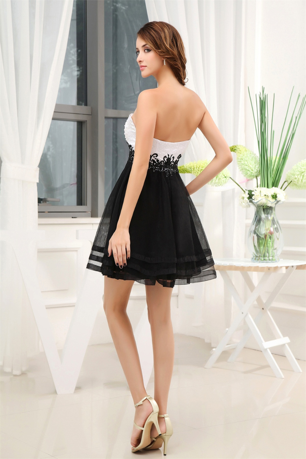 LORIE Black and White Short Party Dresses Fast Shipping