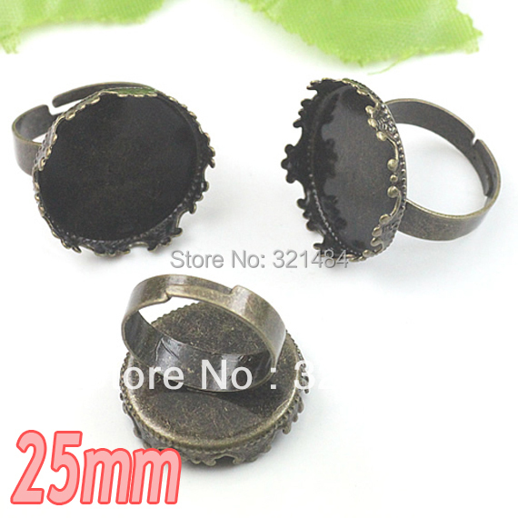 200pcs Antique bronze brass metal adjustable RING BLANK BASE TRAY BEZEL 25mm round king crown cabochon setting<br><br>Aliexpress