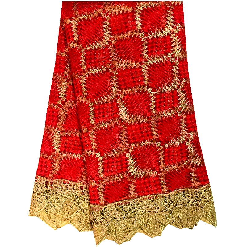 Nigerian French Lace Fabric Embroidered Tulle Fabric Red Color African Cord Lace High Quality Guipure lace for african wedding(China (Mainland))