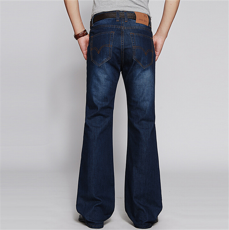 Mens Flared Jeans Boot Cut Leg Flared Slim Fit Mid Waist ...