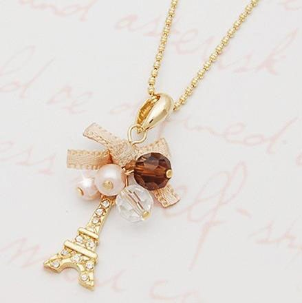 Elegant Gold Crystal Bow Tower Pendant Necklaces,Cute Eiffel Charm Necklace Jewelry Women,Collar Colgante Colares Pingente - Addfashion store