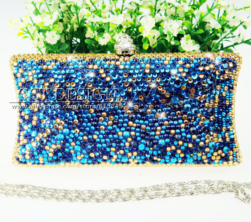 Leather Clutches Ladies Shoulder Bags Messenger crystal Evening Bag Handbags something blue Purses for wedding bridal party<br><br>Aliexpress