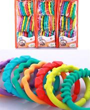 Envío gratis juguetes para bebés 0-12 meses arco iris niños QQ molares anillo mordedor peluche embrague de la cadena ring regalos de año nuevo(China (Mainland))