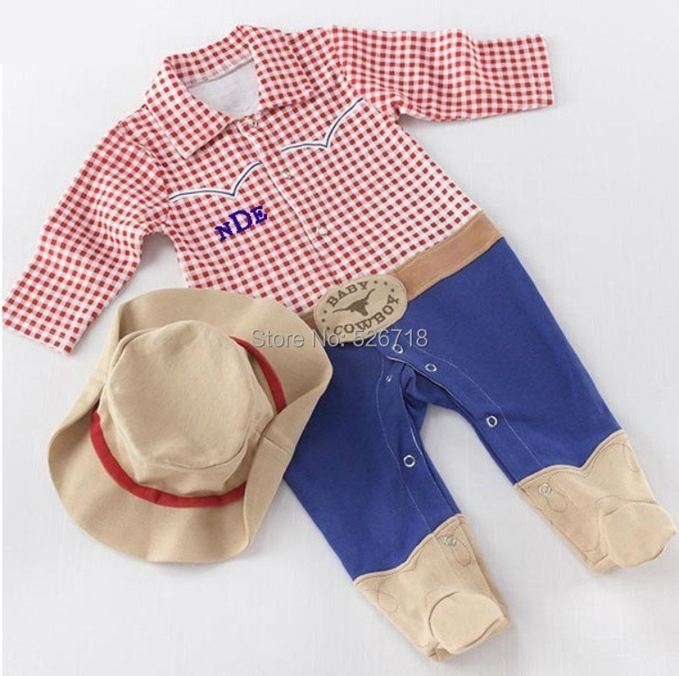 Retail! 2015 New Fashion Kids Boys Clothes Jumpsuit Cotton Cute Cowboy Baby Boy Girl Romper Baby Clothing (Baby Rompers+ Hat)(China (Mainland))