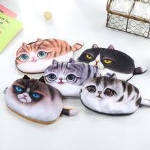 Vivid 3D Painting Chunky Cat Pencil Bag Stationery Storage Organizer Bag School Supply Student Prize(China (Mainland))