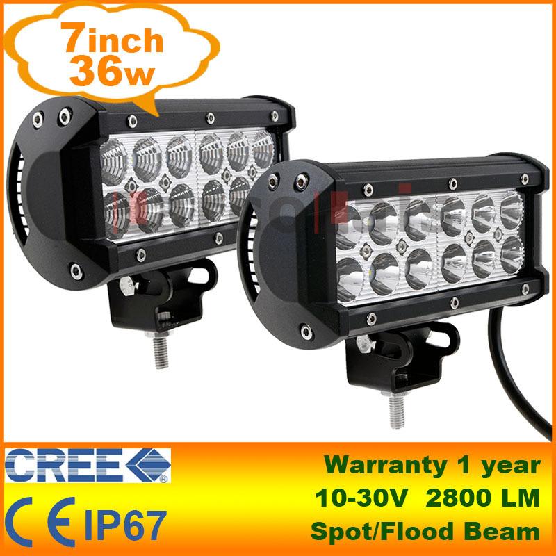 "2pcs 7"" 36W Cree LED Work Light Bar Lamp Tractor Boat Off-Road 4WD 4x4 12v 24v Truck SUV ATV Spot Flood Super Bright(China (Mainland))"