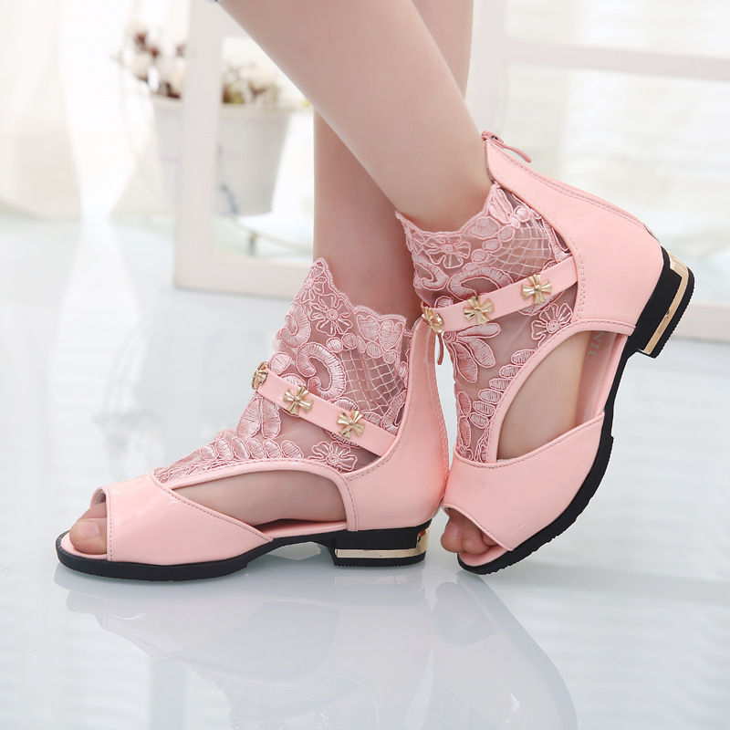 Top fashion 2015 Summer new Korean girls lace lovely princess sandals breathable high top shoes, fish head sandalias ninas xhl01(China (Mainland))